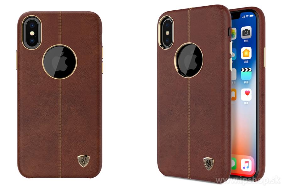 Luxusný ochranný kryt (obal) Englon Brown (hnedý) na Apple iPhone X ... 5c8c86f033b
