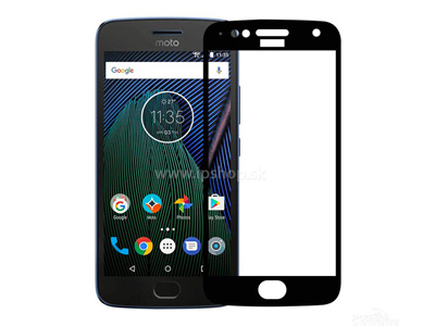 Tempered Glass Black (�ierne) - temperovan� tvrden� ochrann� sklo na cel� displej pre MOTO G5s Plus