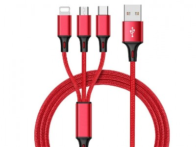 Rapid Charging Cable Red (červený) - Nabíjací kábel 3 v 1 na Apple iPhone a iPad, Micro USB a USB typ C (USB-C)