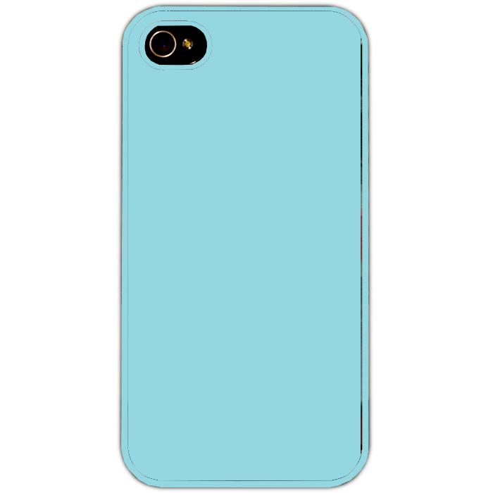 Kryt (obal) s potiskem (vlastní fotkou) s modrým plastovým okrajem pro iPhone 4/4s + fólie na displej