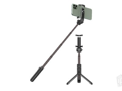 BASEUS Folding Bracket Stick (čierna) - Bluetooth selfie tyč so statívom - 65cm