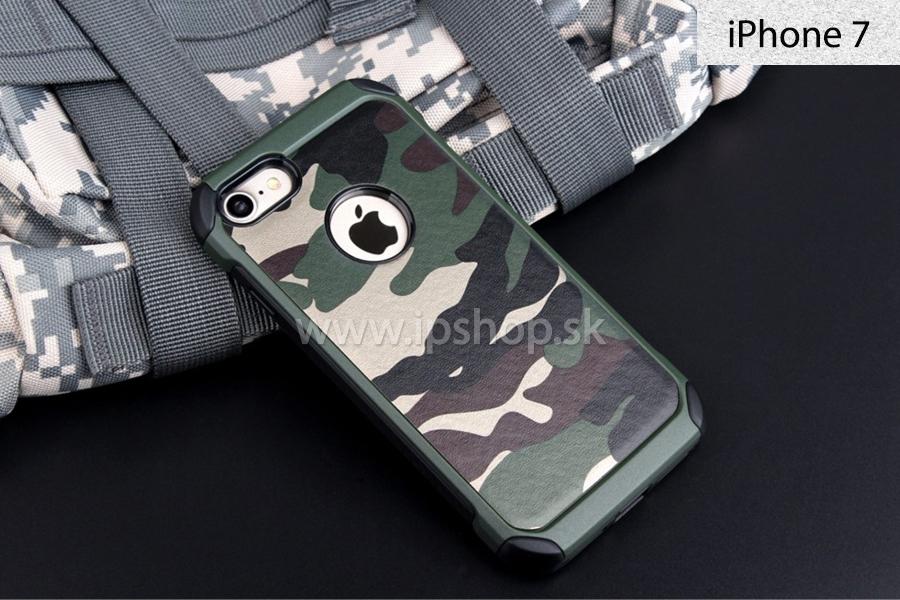 Camo Series (zelený) - Outdoorový ochranný kryt na Apple iPhone 7 + fólia na ef6bc69dd50