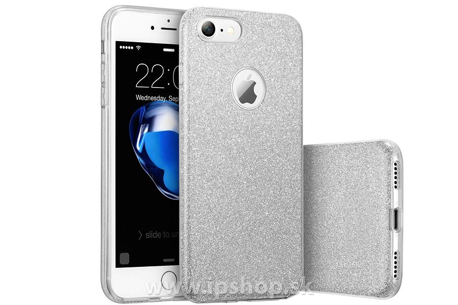 Ochranný glitrovaný kryt (obal) TPU Glitter Silver (strieborný) pre Apple  iPhone 7 + fólia na displej c836f9d4761