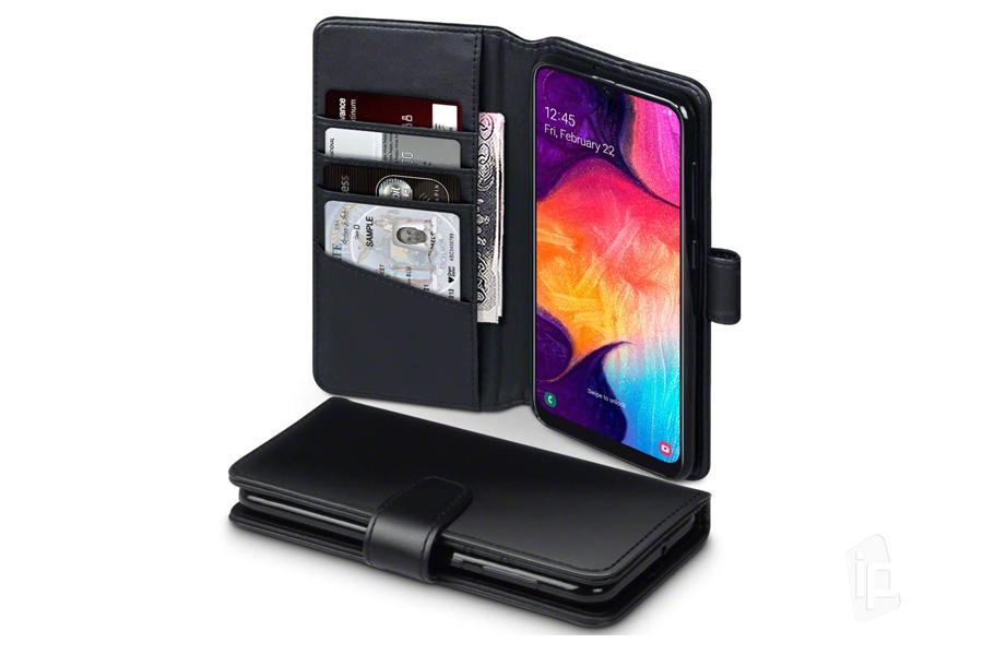 b1df1b6de Peňaženkové puzdro z pravej kože pre Samsung Galaxy A50 - čierne ...