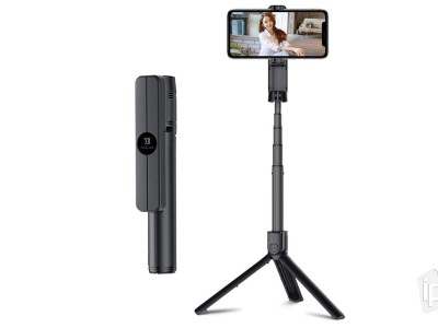 REMAX Selfie Stick Tripod (čierna) - Bluetooth selfie tyč so statívom - do 85 cm