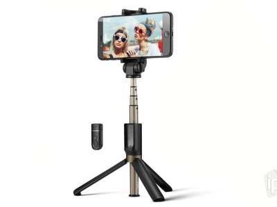 ROCK Selfie Stick Tripod (čierny) - Bluetooth selfie tyč so statívom - do 88 cm