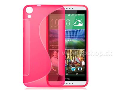 Ochranný gelový/gumový kryt (obal) Pink Wave (růžový) na HTC Desire 820 + fólie na displej
