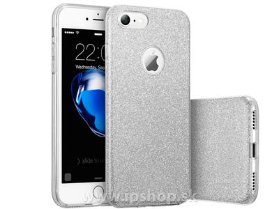 Ochranný glitrovaný kryt (obal) TPU Glitter Silver (stříbrný) pro Apple iPhone 7 + fólie na displej