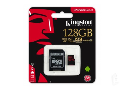 KINGSTON Canvas REACT Micro SDXC 128GB Class 10 UHS-I V30 + adaptér