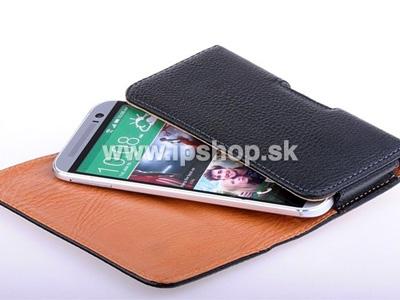 Horizontální kožené pouzdro pro HTC One M8 černé + fólie zdarma