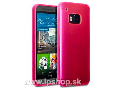 Ochranný gelový/gumový kryt (obal) na HTC One M9 růžový + fólie na displej