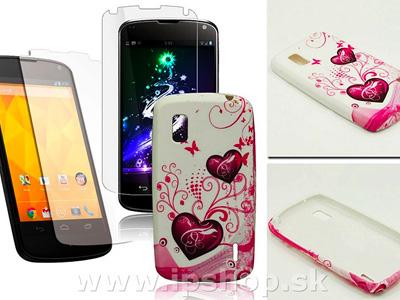 Ochranný kryt (obal) TPU Purple Hearts na LG Google Nexus 4 (E960)