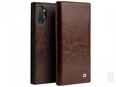 QIALINO Classic Leather Wallet Book (hnedé) - Luxusné kožené puzdro pre Samsung Galaxy Note 10 Plus