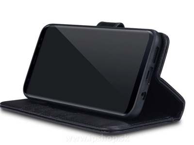 Peněženkové pouzdro z pravé kůže pro Samsung Galaxy S8 Plus černé