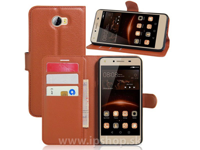 Knižkové puzdro Emboss Stand Wallet Brown (hnedé) pre HUAWEI Y5 II